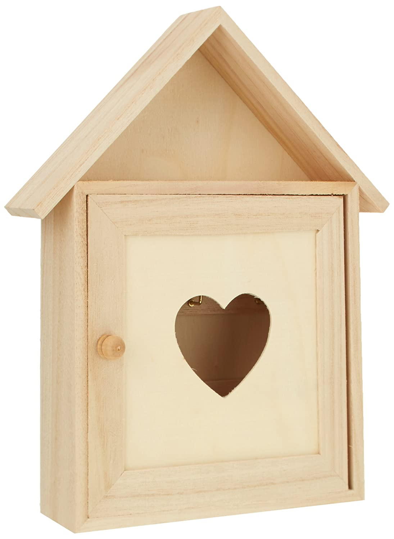 Rayher 62405000 cassetta portachiavi in legno FSC, svuotatasche, finestra cuore, 17 x 5 x 21 cm. Rayher Hobby
