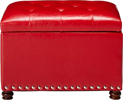 Adeco High End Red Classy Bonded PU-Leather Tufted Accents Rectangular Storage Bench Ottoman Footstool,