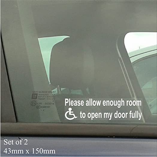 X Mm X MmPlease Allow Enough Room To Open My Door Fully - Car window stickers amazon uk