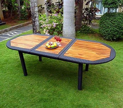 Table de jardin en teck et résine tressée - rallonge - 180-240 cm ...