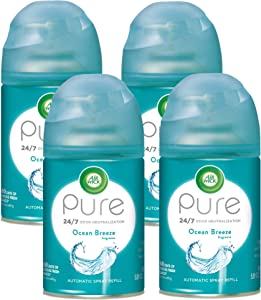 Air Wick Pure Freshmatic 4 Refills Automatic Spray, Ocean Breeze, Air Freshener, Essential Oil, Odor Neutralization, Packaging May Vary, 5.89 oz, Pack of 4