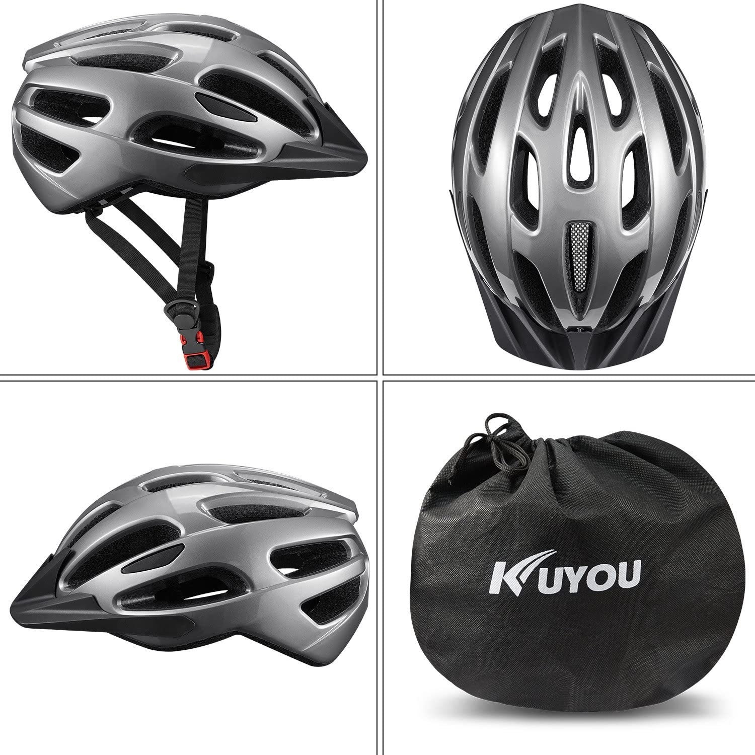 KUYOU Adult Cycling Bike Helmet with Adjustable Ultralight Stable Road Mountain Bike Cycle Helmets for Mens Womens