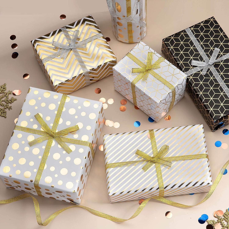 ZWOOS Fogli di Carta da Regalo 5 Fogli Carta Regalo e 2 Rotoli di Nastro per Compleanno Natale Regali Anniversari Matrimonio Ringraziamento