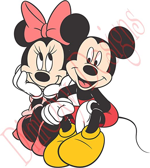 Amazon Com One Stop Decals Mickey Mouse And Minnie Mouse Sitting V1 Static Cling Decoration For Windows Mirrors Or Polished Metal Surfaces 24 Longest Side Home Kitchen