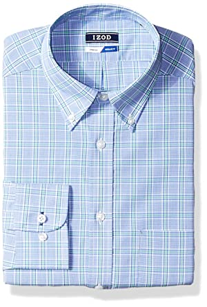 5a2892ae9b5b IZOD Men's Dress Shirts Regular Fit Stretch Plaid, Green/Multi, 15-15.5""