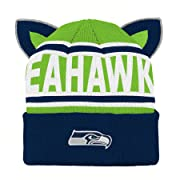 Outerstuff NFL Seattle Seahawks Team Ears Fleece Knit Hat Dark Navy, Infant One Size