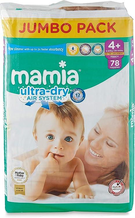 Mamia Baby Ultra Dry Pañales, tamaño 4+, 9-20 kg, Jumbo Pack (78 pañales): Amazon.es: Bebé