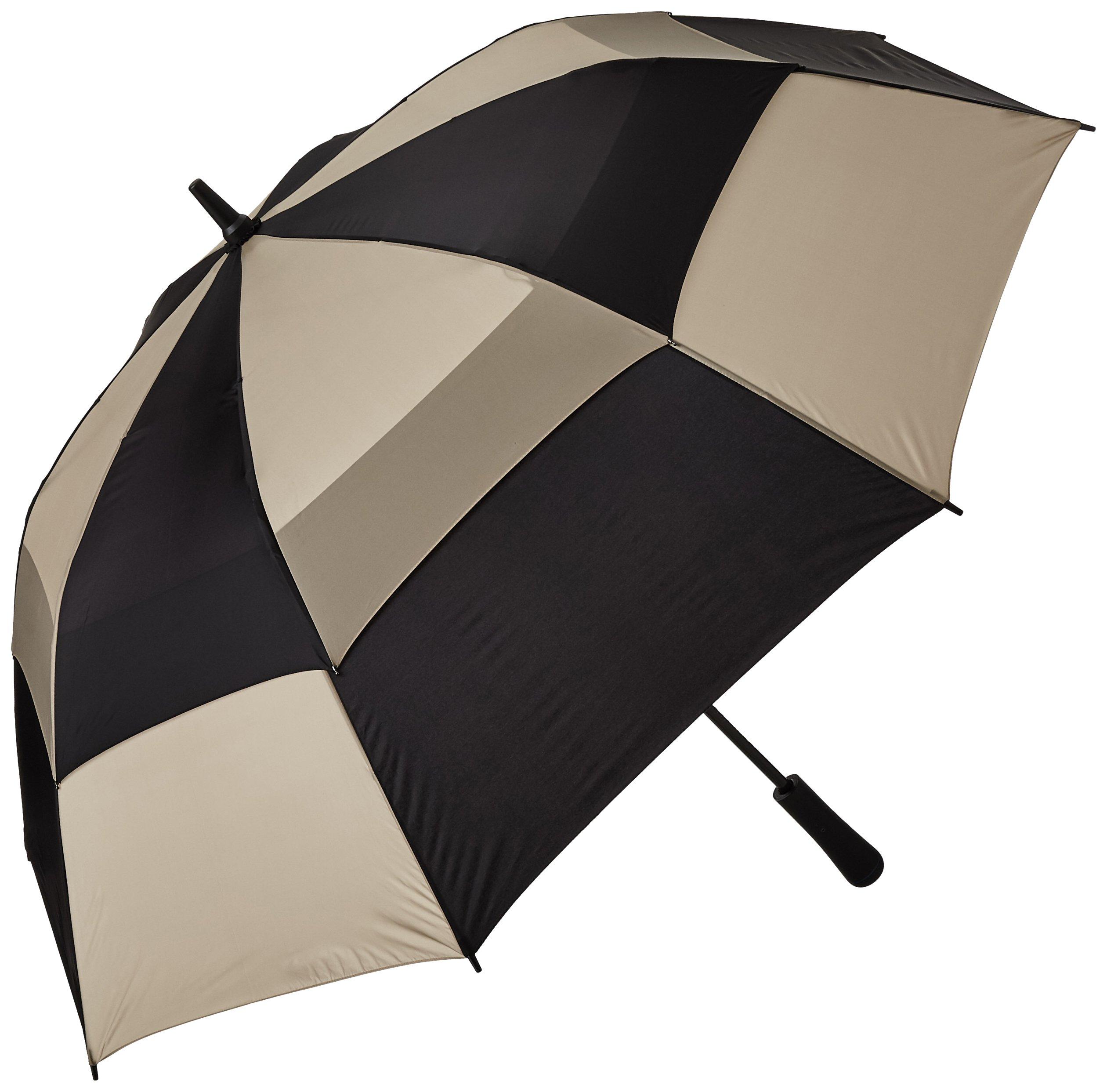 totes Auto Open Vented Golf Stick Umbrella,  Black/British Tan,  One Size