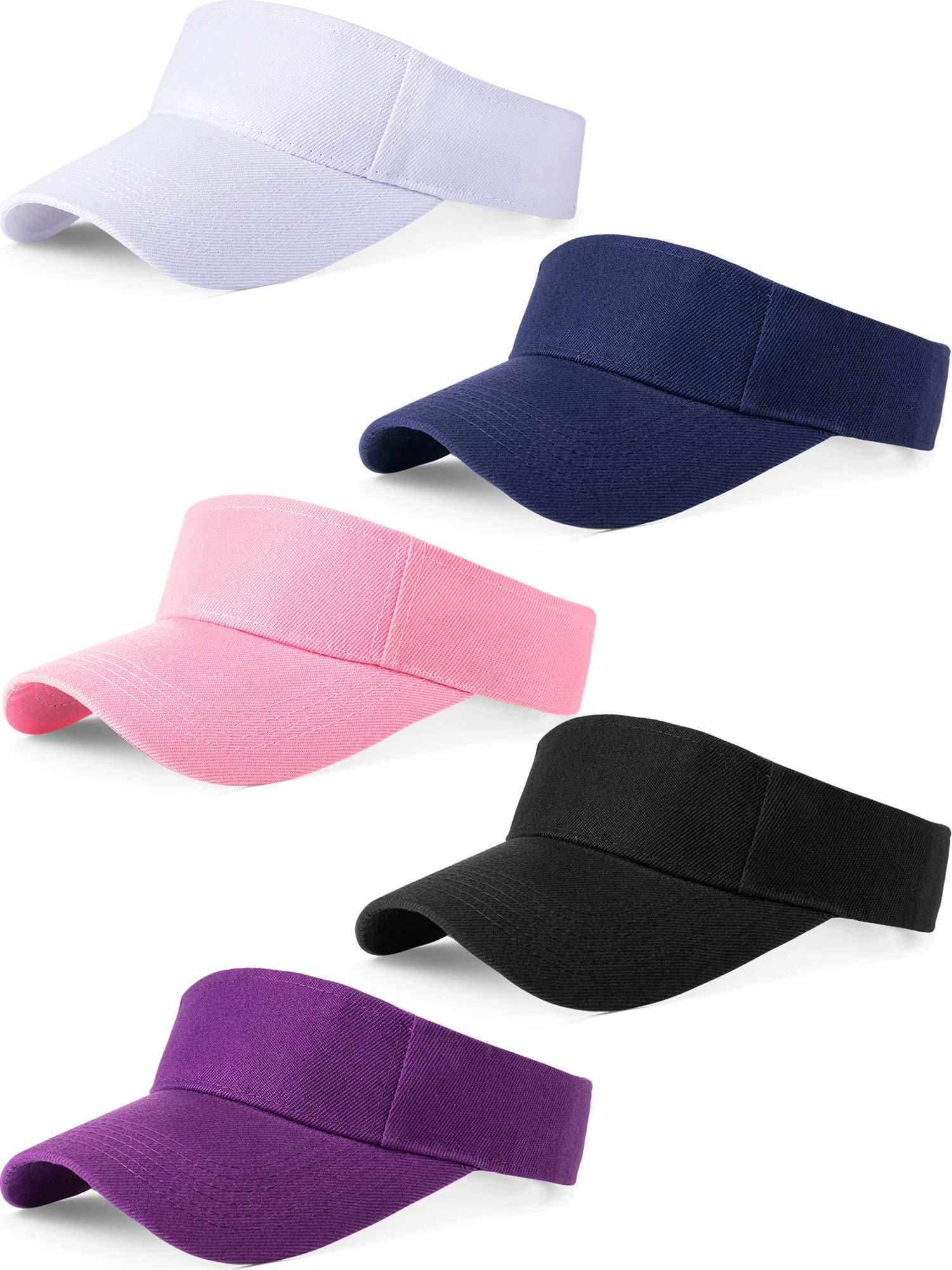 5 Pieces Sport Wear Athletic Visor Sun Visor Adjustable Cap Men Women Sun Sports Visor Hat (Navy Black White Pink Purple)