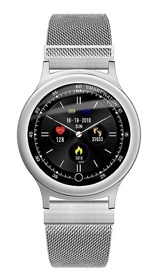 RanGuo Reloj Inteligente para Hombres Mujeres y niños, Deportes al Aire Libre Impermeable IP68 Smart Watch para Sistema Android y iOS (Correa de Acero, ...