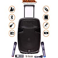 TAKARA Karaoke Speaker T-7115 Portable 15 Inch Trolley Speaker Multimedia Bluetooth Speaker, with Audio Recording, Rechargeable Battery, USB,TF, PA System with 2 UHF Wireless Mic Outdoor Party Speaker