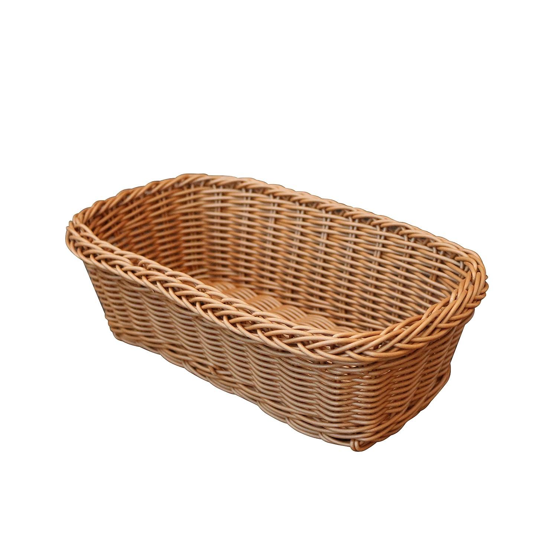 CVHOMEDECO. Rectangle Imitation Rattan Bread Basket Food Serving Basket Resin Wicker Fruit Basket.Brown. 11-1/2