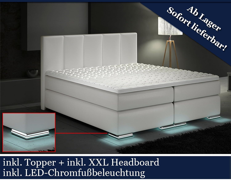 Boxspringbett weiß 200x200  XXL Boxspringbett Designer Boxspring Bett LED (Weiß, 200x200 ...