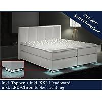 XXL Boxspringbett Designer Boxspring Bett LED Weiss