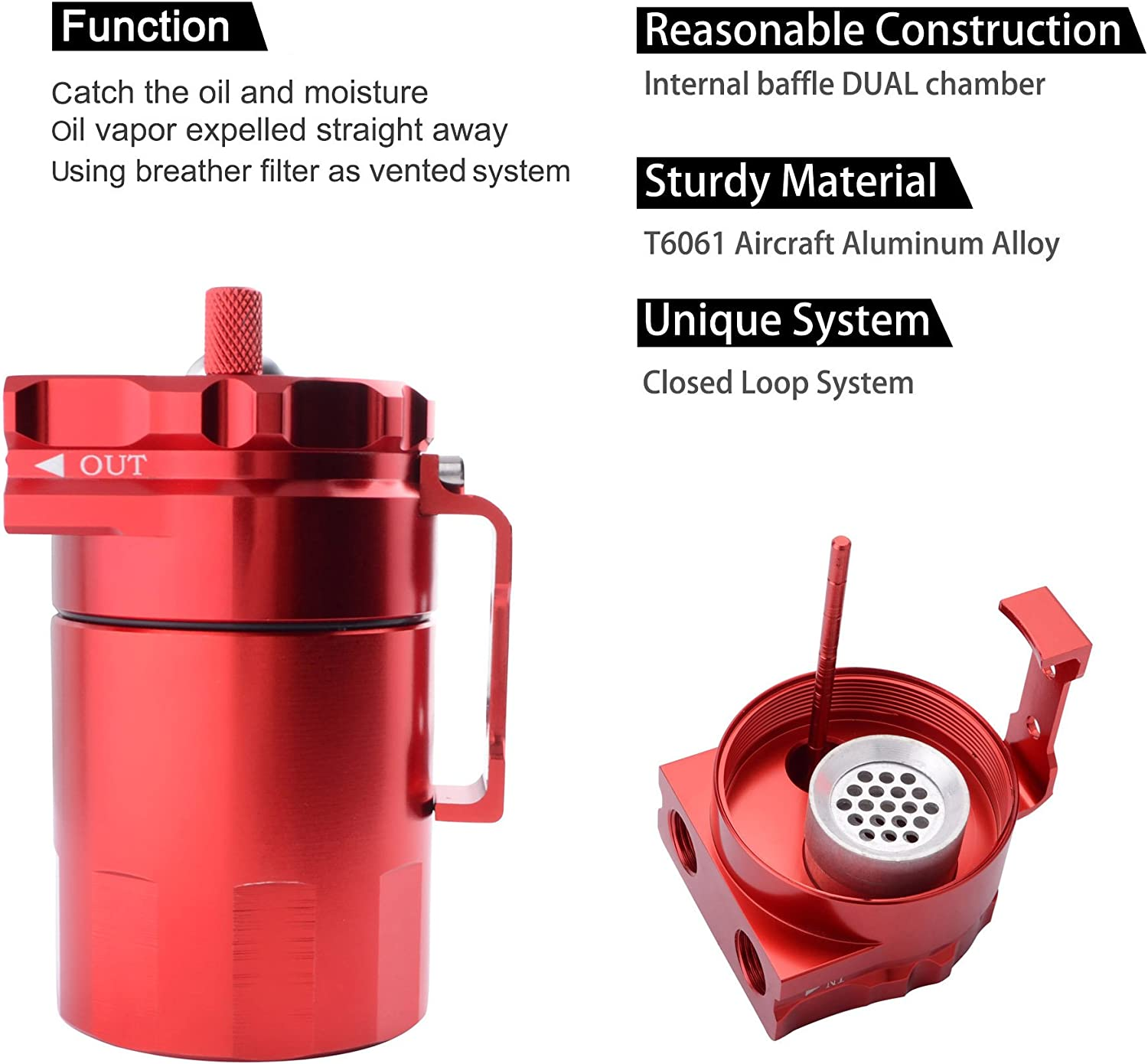 2-Port Oil Catch Can Tank With Breather Polish Baffled Reservoir Black Red