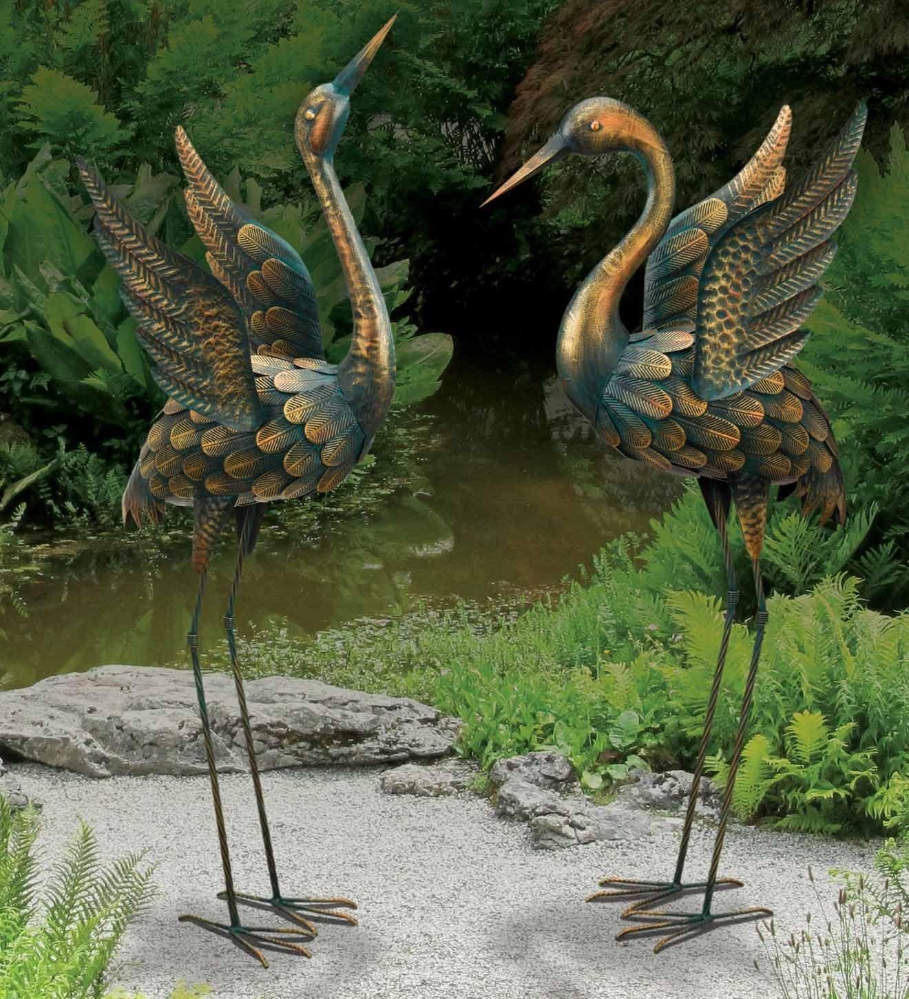 CHSGJY Large Copper Patina Flying Crane Pair Sculpture Heron Bird Yard Art Metal Statue Home Garden Decor