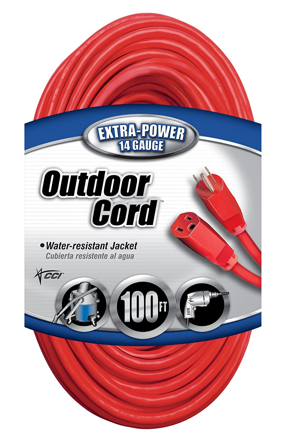 on sale coleman cable 02309 16 3 vinyl outdoor extension cord orange 100 feet. Black Bedroom Furniture Sets. Home Design Ideas
