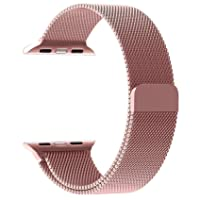 Penom Apple Watch Band 38mm Mesh Loop w Strong Magnetic Stainless Steel Closure Clasp Milanese Strap Bands a Rose Gold