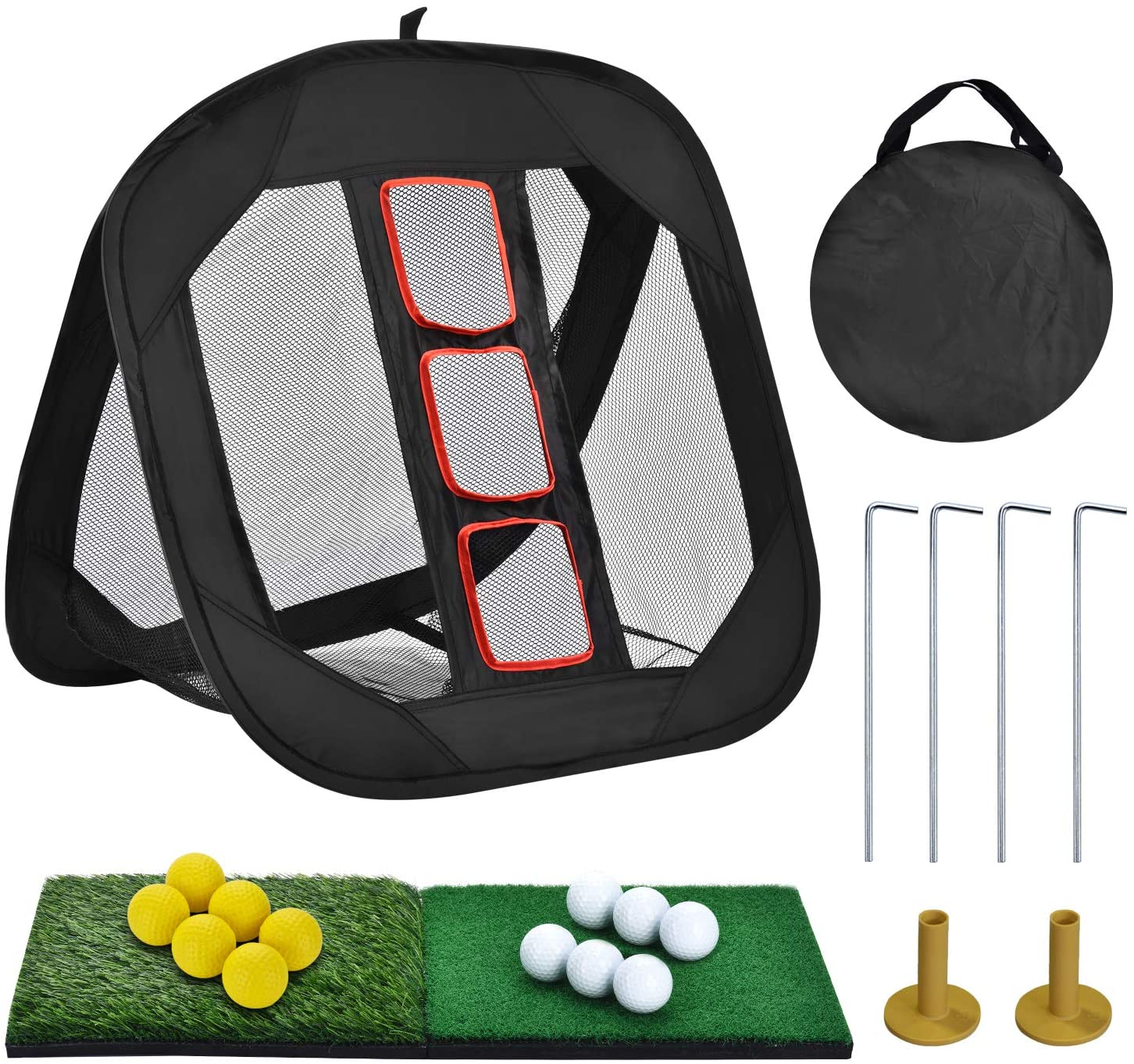 SUNHOO Pop-up Golf Chipping Net with Dual Turf Hitting Mat, Real Solid Practice Golf Ball and Tees Combo, Driving Range Target Swing Training Aids Backyard | Indoor | Outdoor