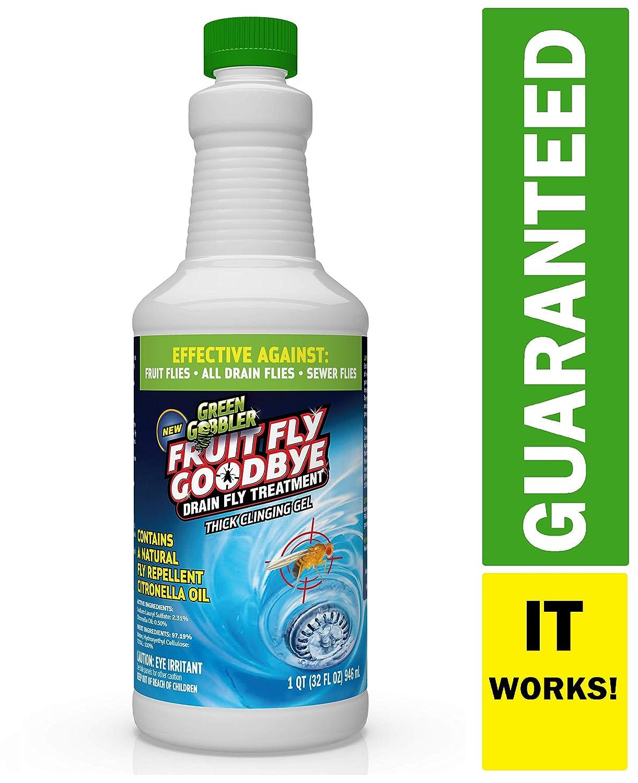 Green Gobbler Fruit Fly Goodbye Gel Drain Treatment | Drain Fly Repellent | Fruit Fly Repellent | Drain Flies Treatment | Fruit Flies Treatment | Drain Fly & Fruit Fly Eliminator (32 oz)