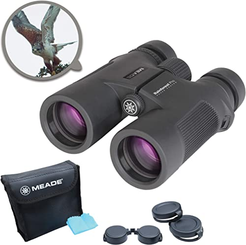 Meade Instruments Rainforest Pro 10×42 Compact Outdoor Bird Watching Sightseeing Sports Concerts Travel Professional HD Binoculars for Adults Fully Multi-Coated BaK-4 Prisms Durable Waterproof