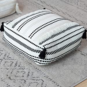 """Stripe Morocco Tufted Boho Decorative Unstuffed Pouf - Black Off White Cotton Woven Pouf Cover with Big Tassels, Neutral Farmhouse Small Foot Rest, Modern Textured Home Decor, 16""""x16""""x6"""""""