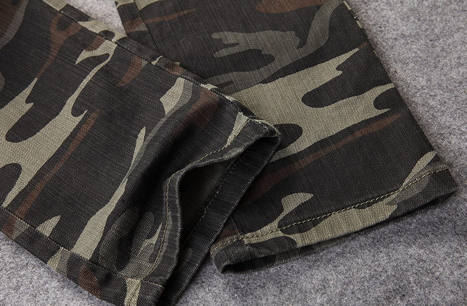 Allonly Mens Stylish Casual Slim Fit Straight Leg Camouflage Jeans Pants With Many Pockets