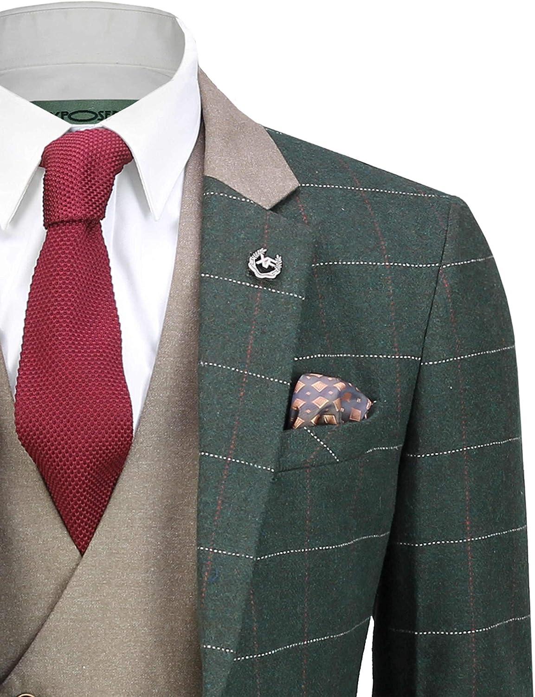 Xposed M/änner 3 St/ück Tweed Anzug Olivgr/ün mit Fischgr/ätmuster pr/üfen Retro stilvolle Ma/ßgeschneidert