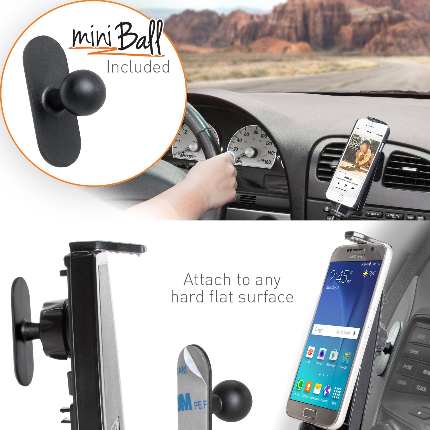 and a 2m microUSB Cable- Compatible w//Samsung Galaxy S6 // S7 Suction Cup Mount, Vent Mount, and Mini Mount iBOLT mProNFC Combo Car Dock//Mount for Android Phones- 3 mounts