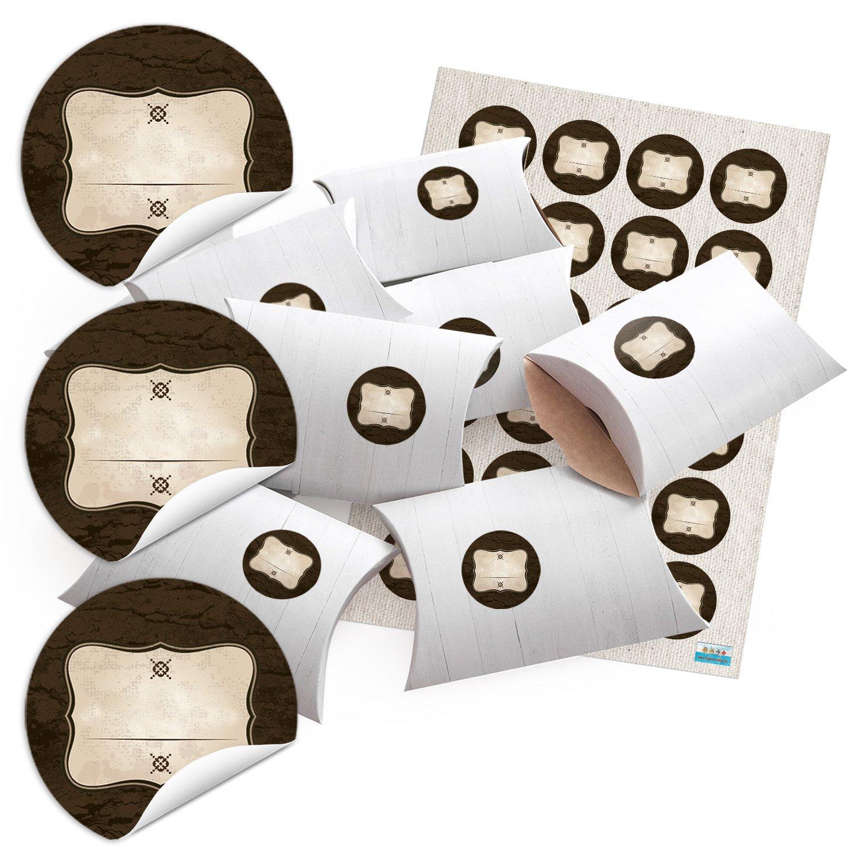 24piccolo regalo scatole regalo scatole di cartone effetto legno bianco 14, 5x 10, 5cm (+ 3cm alto) + Sticker etichetta + trattino marrone beige Ø 4cm; per costruire aquilone e Riempire Jeanette Dietl