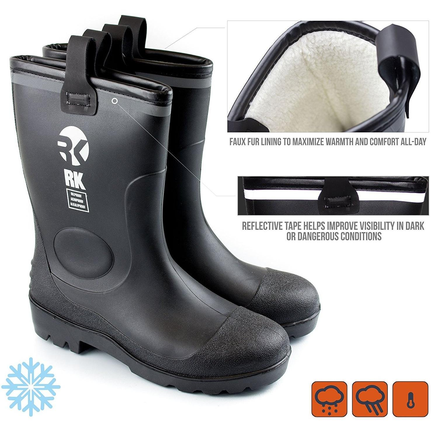 RK Mens Insulated Waterproof Fur Interior Rubber Sole Winter Snow Cold Weather Rain Boots (9 D(M) US, Black)