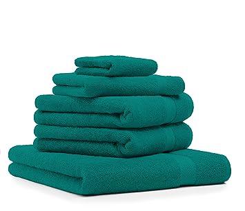 BETZ 5 Piezas Set Toallas 1 Toalla de Ducha 2 Toallas de Mano 1 Toalla Invitados 1 manopla de baño Color Verde Esmeralda: Amazon.es: Hogar