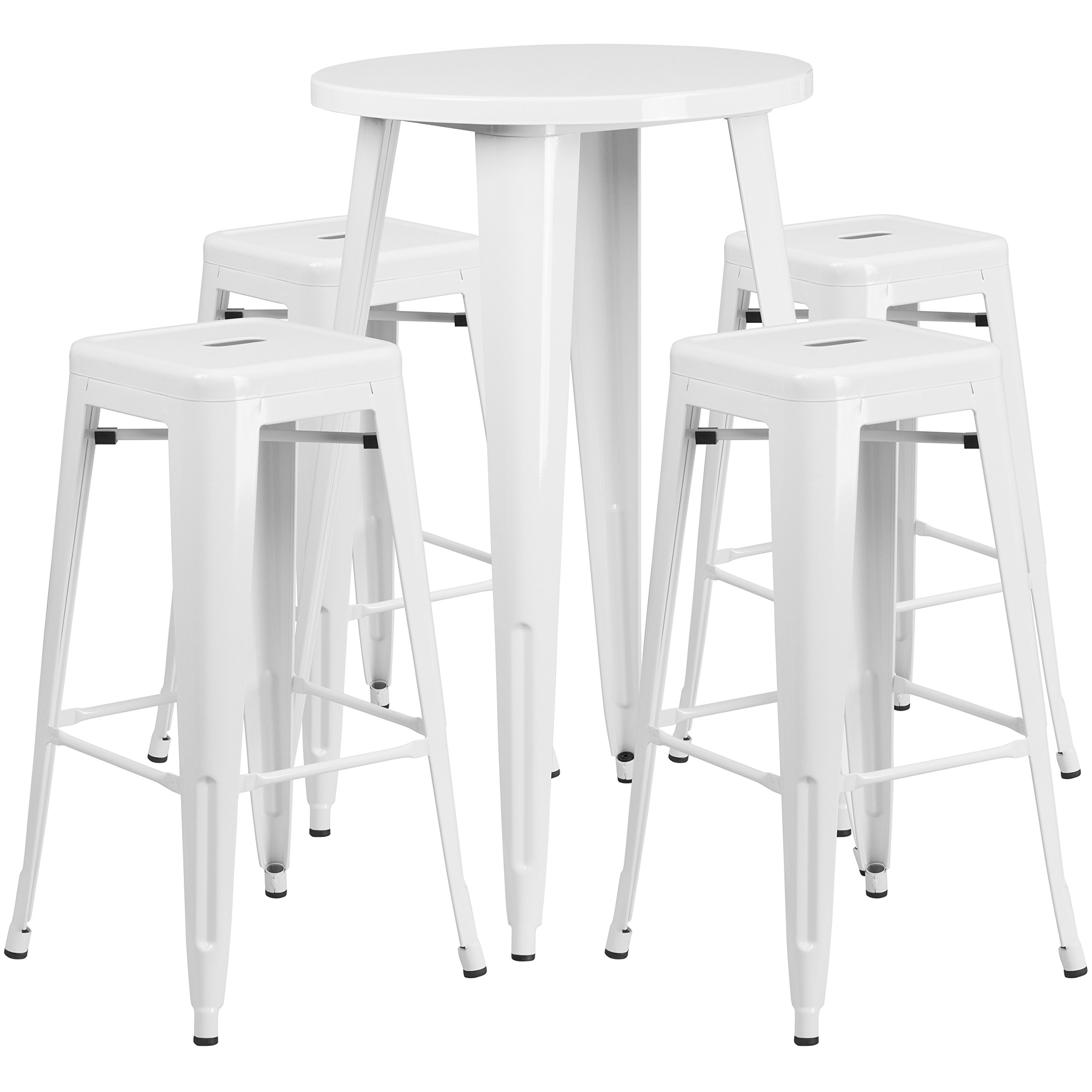 Flash Furniture 24'' Round White Metal Indoor-Outdoor Bar Table Set with 4 Square Seat Backless Stools by Flash Furniture
