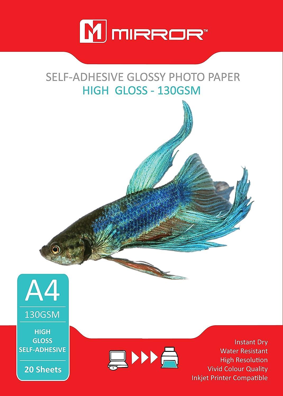 Mirror MP130SA - Papel fotográfico brillante autoadhesivo (A4, 130 g/m², 20 hojas): Amazon.es: Oficina y papelería
