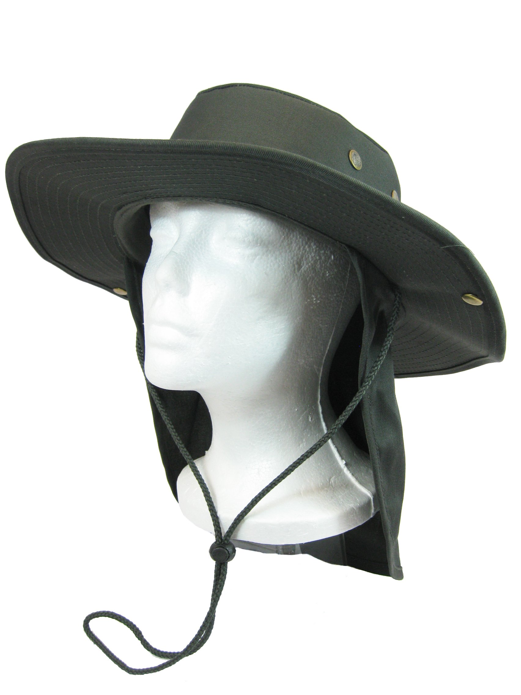Fishing Hiking Hunting Boating Snap Brim Hat Sun Cap with Neck Flap Cover Outdoor Safari Boonie Bush (Olive Drab, S) by SW