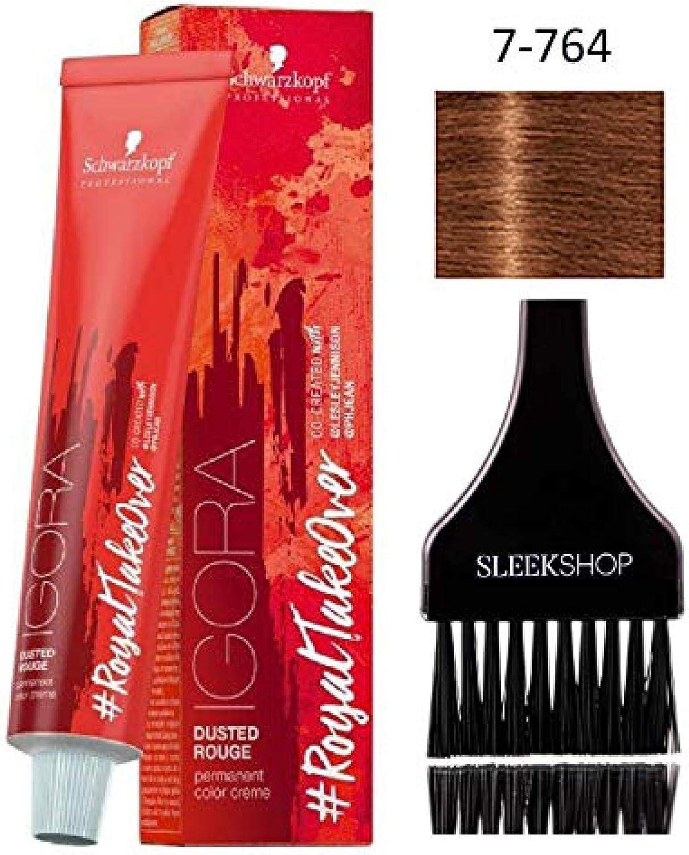 Schwarzkopf IGORA Royal Takeover - Crema permanente para el cabello (con aplicador de tinte elegante), color crema #RoyalTakeover (7-764)