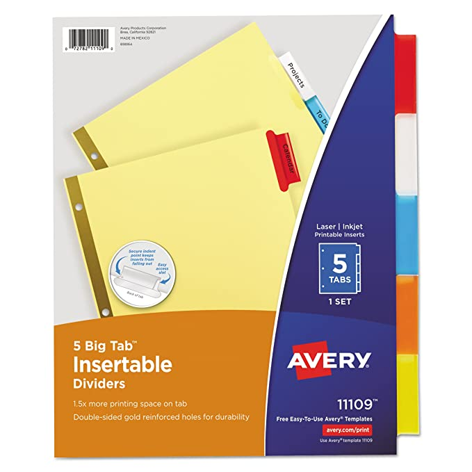 Amazon Avery 11109 Insertable Big Tab Dividers 5 Tab Letter