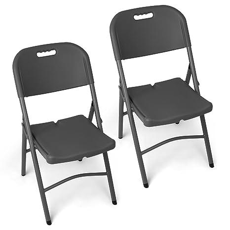 Sedie In Plastica Pieghevoli.Park Alley Pa 4987 Set Sedia Pieghevoli In Plastica Antracite