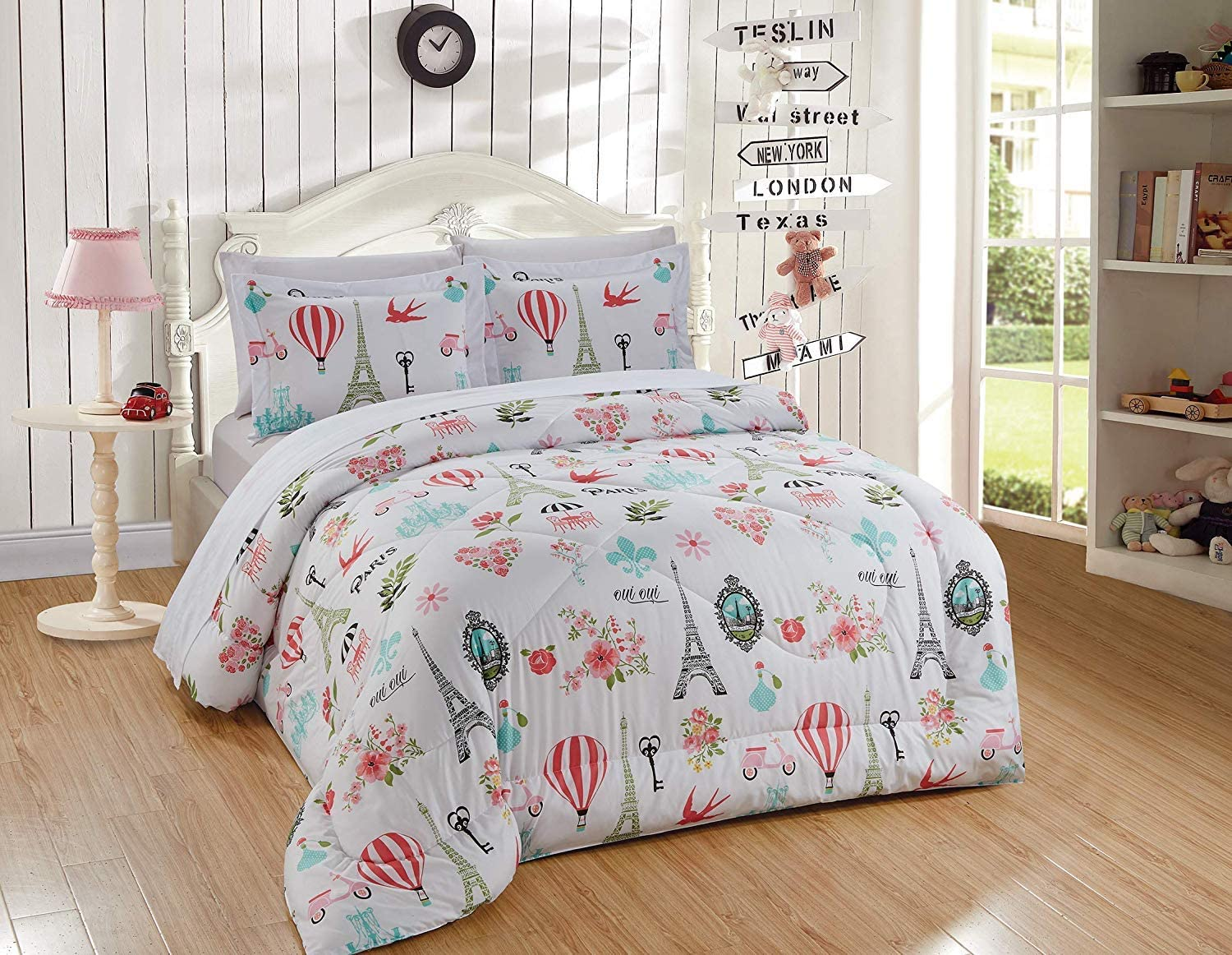 Better Home Style Pink White Blue Green Floral Paris Eiffel Tower Bonjour Flowers Design 7 Piece Comforter Bedding Set Bed in a Bag with Complete Sheet Set # Paris Balloon (Queen Size)