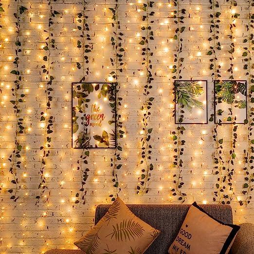 Guirnalda de hiedra artificial con luces LED, 12 hebras falsas para colgar, hojas verdes para bodas, fiestas, jardín, decoración de pared: Amazon.es: Hogar