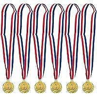 6-pack gouden medaille set - Olympische stijl winnaar Award medailles, 6 cm in diameter met 31 inch lint