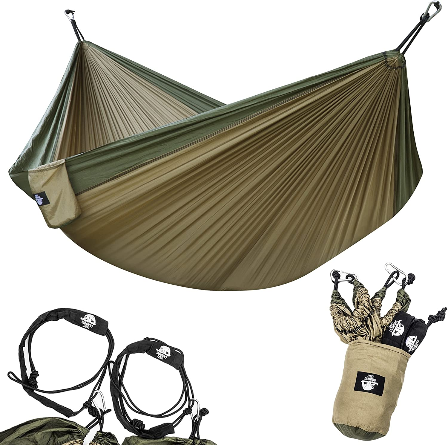 Legit Camping Portable Double Hammock - Khaki/Army Green - 400 lb Weight Capacity