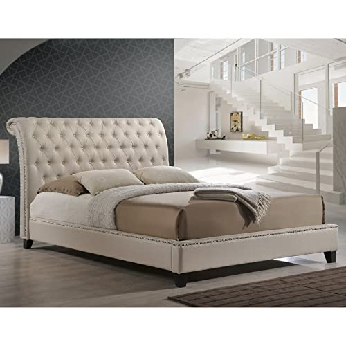 Baxton Studio Jazmin Tufted Modern Bed with Upholstered Headboard, King, Light Beige