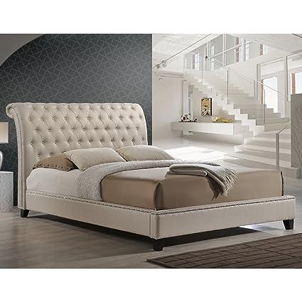 d0b838ad95b2 Amazon.com: Baxton Studio BBT6293-King-Light Beige-6086-1 Jazmin Tufted  Modern Bed with Upholstered Headboard, King, Light Beige: Kitchen & Dining