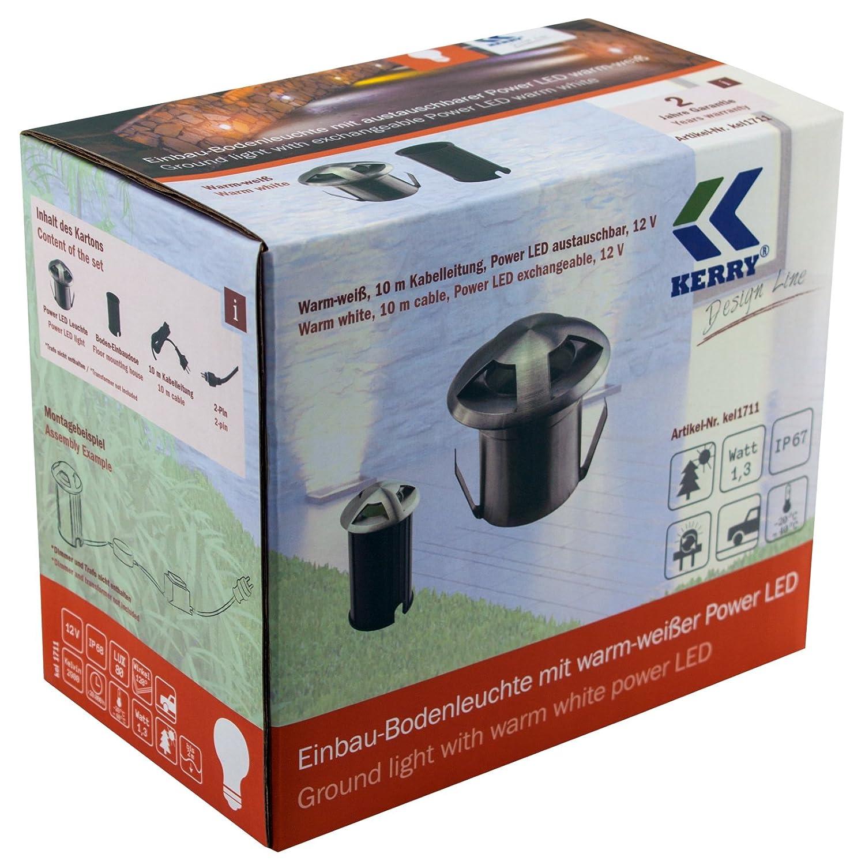 KEL1711 Kerry Electronics Edelstahl Bodenleuchte LED warmweiß wechselbar 12V AC