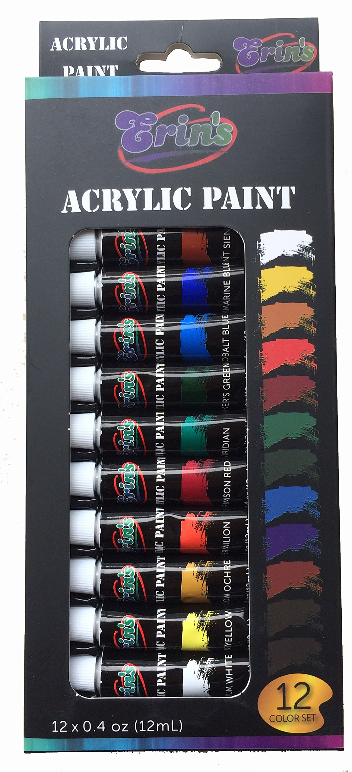 Acrylic Paint Set 12 Color Tubes Uses Include