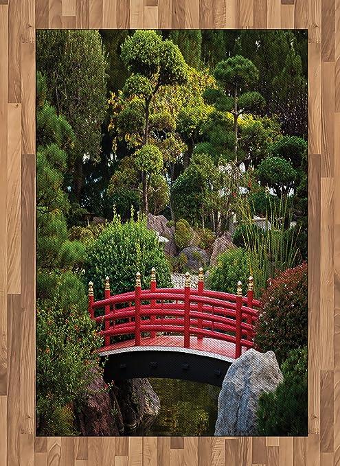 Lunarable Alfombra de área Japonesa, Bridge Over Pond en jardín japonés Monte Carlo Mónaco con árboles y Plantas, Alfombra de Acento Tejida Plana para salón, Dormitorio, Comedor, Rojo y Verde: Amazon.es: Juguetes