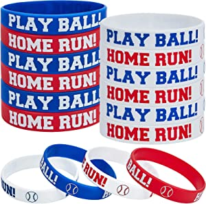 36 Pieces Baseball Silicone Rubber Bracelets Boy Rubber Wristbands Baseball Bracelet Wristbands for School Gifts Party Favors