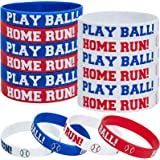 24 Pieces Baseball Silicone Rubber Bracelets Boy Rubber Wristbands Baseball Bracelet Wristbands for School Gifts Party…
