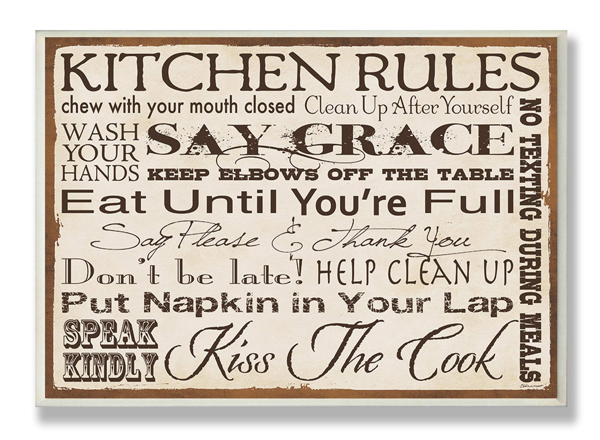 Stupell Home Décor Kitchen Rules Creme Typography Kitchen Wall Plaque, 10 x 0.5 x 15, Proudly Made in USA